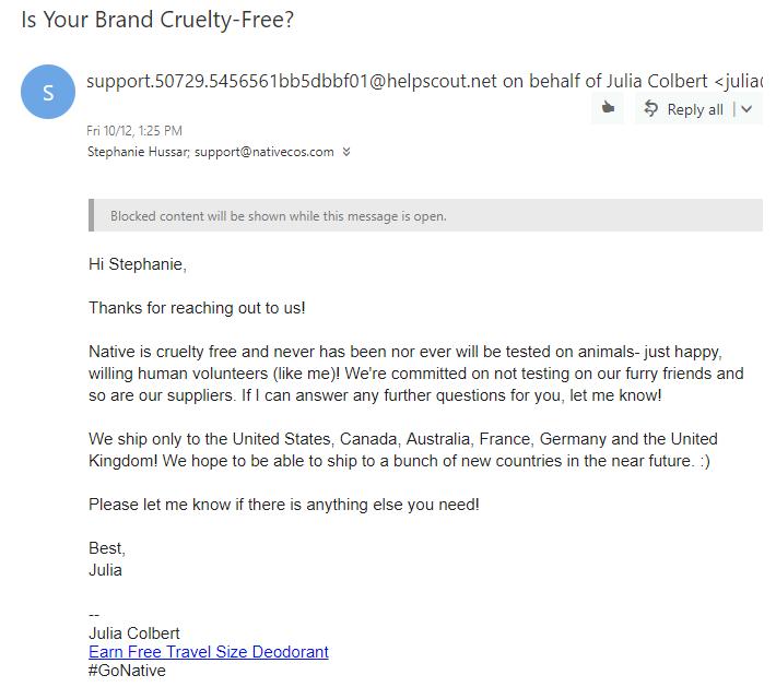 Native Deodorant Cruelty-Free Status
